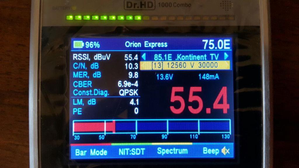 Настройка Телекарты на Dr.HD 1000 Combo, шкала RSSI