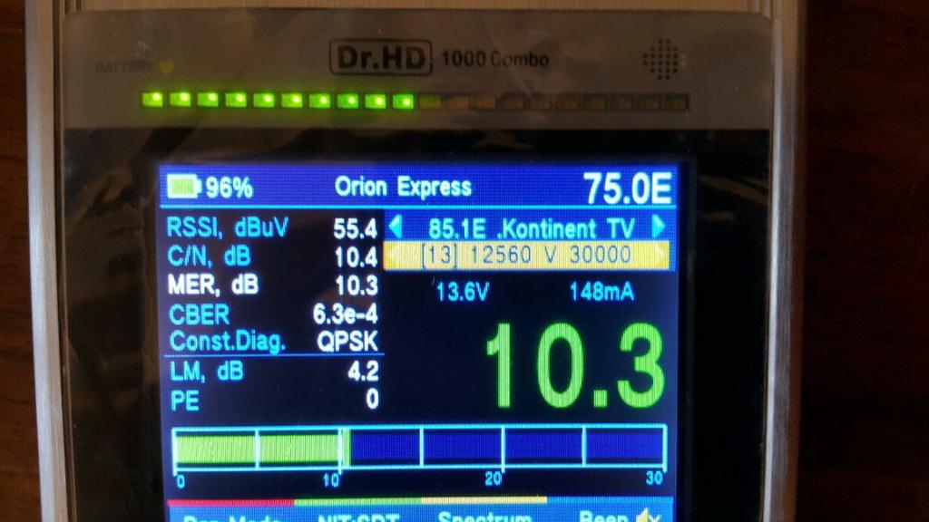 Настройка Телекарты на Dr.HD 1000 Combo, шкала MER