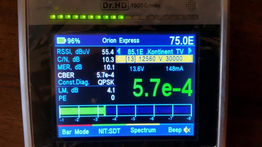 Настройка Телекарты на Dr.HD 1000 Combo, шкала CBER
