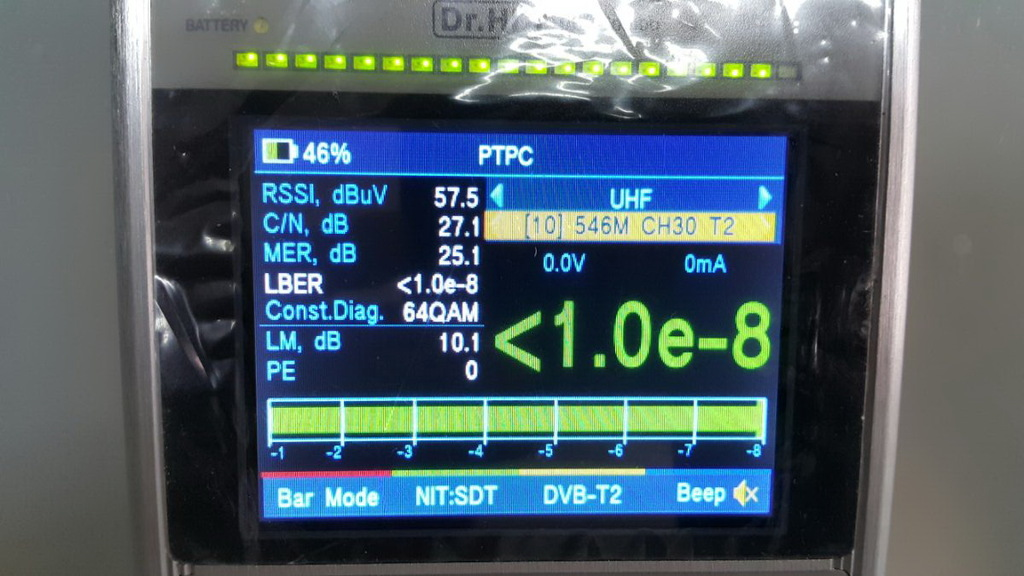 Настройка эфирки на Dr.HD 1000 Combo, шкала LBER