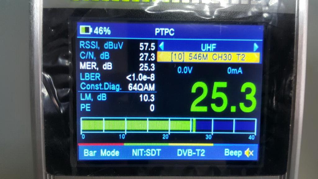Настройка эфирки на Dr.HD 1000 Combo, шкала MER