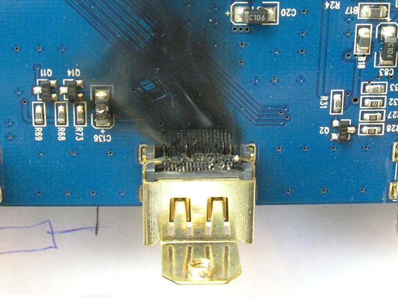 Выжженный HDMI порт изнутри.