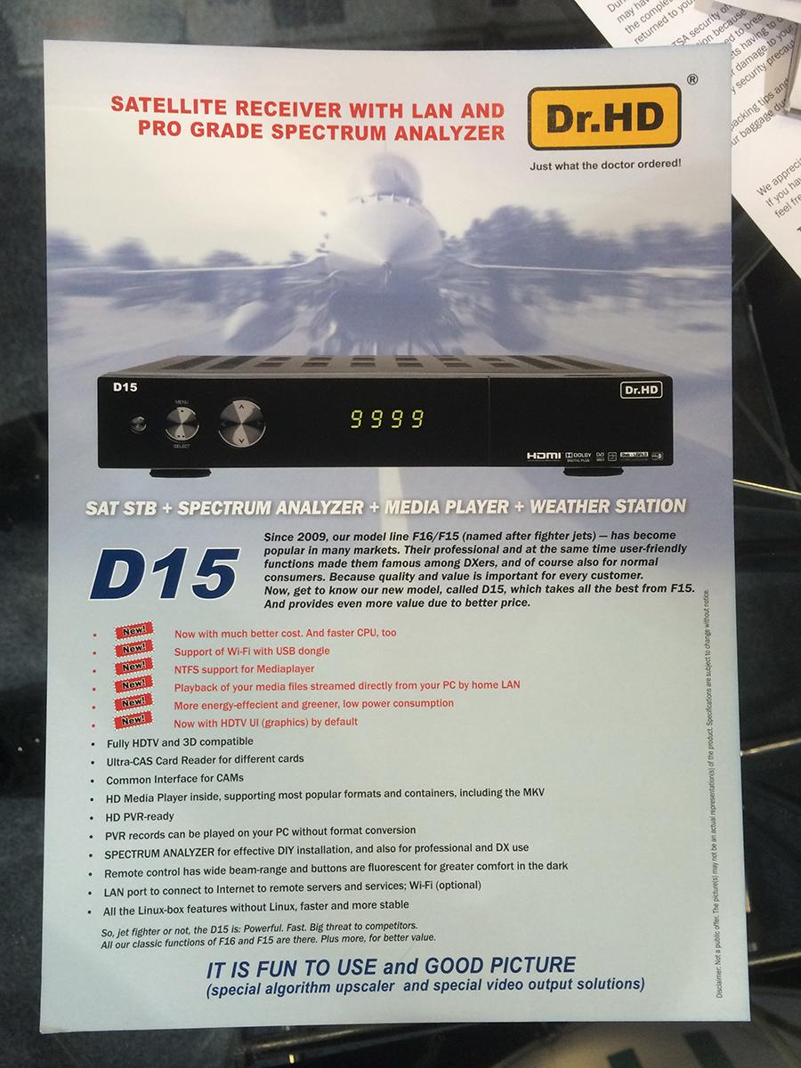 Листовка ресивера Dr.HD D15 на выставке CES 2014